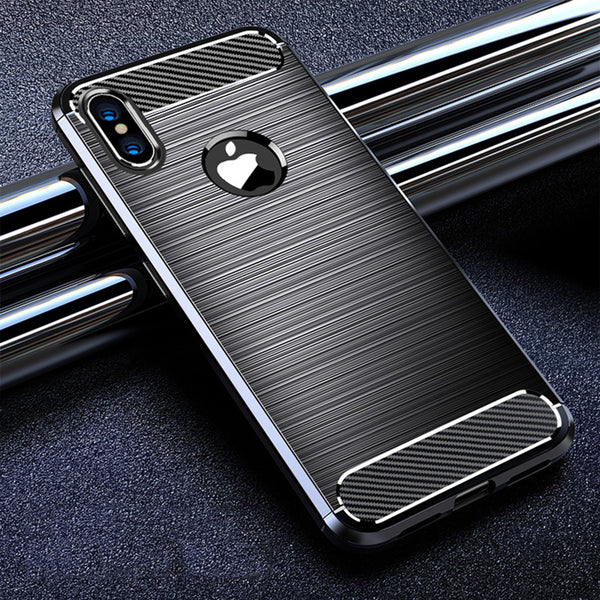 low priced abfcd 74866 Phone Case - Luxury Carbon Fiber Soft Silicone Shockproof Phone Case For  iPhone XS/XR/XS Max 8/7 Plus