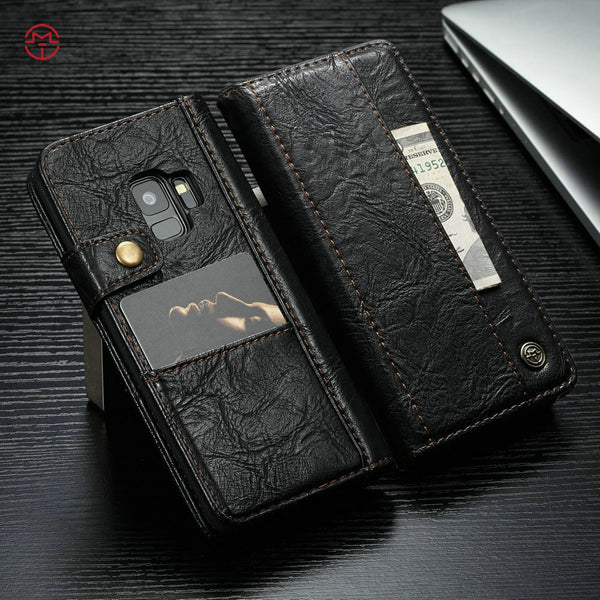 Retro Leather Flip Wallet Card Slot Case For Samsung Galaxy S7 Edge S8 S9+ Note 8 9