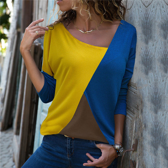 Women's Clothing - 2018 Women's Fashion Patchwork Ladies Office T-Shirt