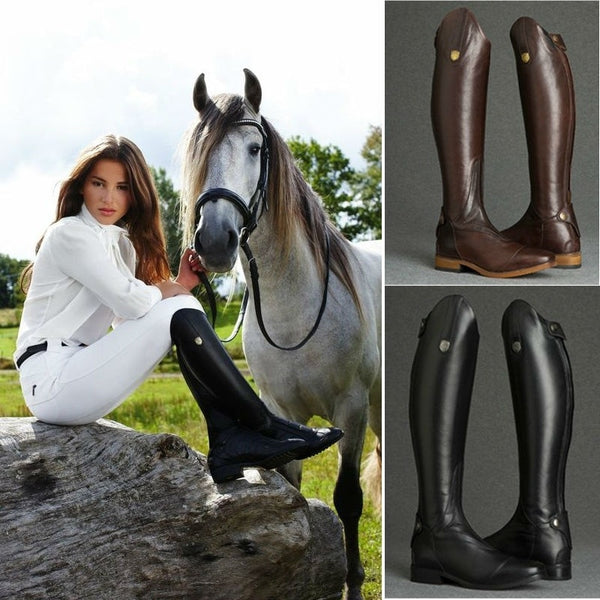 Cool Smooth Leather Knee High Riding Boots