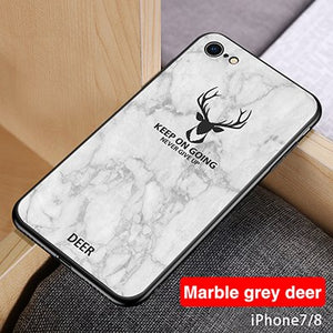 Luxury Marble Texture Christmas Deer Cases For iphone 7 8 6 6s Plus XR X XS Max