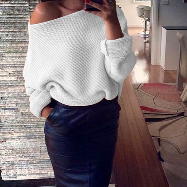 Women's Clothing - Fashion Cotton Sexy Loose One Shoulder Sweater