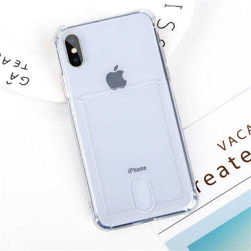 Phone Case - Luxury Gitter Powder Card Slot Holder Airbag Protection Soft TPU Phone Case For iPhone X/XS/XR/XS Max 8/7 Plus