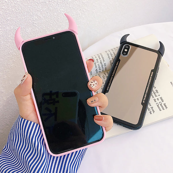 Phone Accessories - Cute 3D Devil Horns Mirror Back Cover Phone Case For iPhone 10 X XR 6 6s Plus XS Max 7 8 Plus