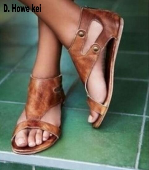 5fd17929915f Women s Shoes - 2019 Roman Gladiator Summer Ankle Strap Flat Sandals ...