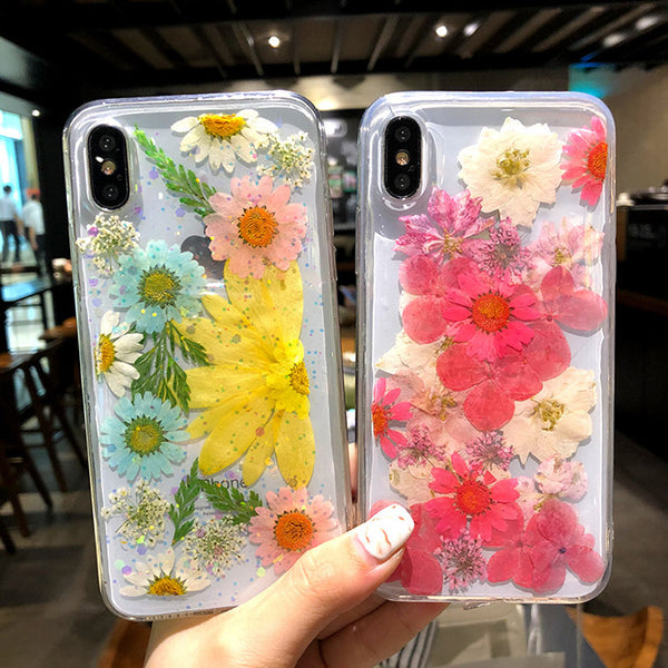 Phone Accessories - Beautiful Dried Flowers Transparent Soft TPU Cover For For iPhone