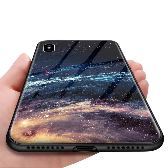Phone Case - Luxury Starry Pattern Tempered Glass Durable Protective Phone Case For iPhone XS/XR/XS Max 8/7 Plus