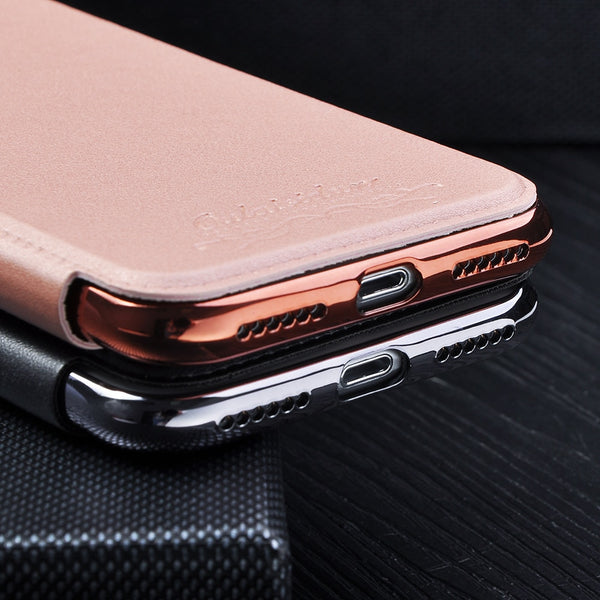 Phone Case - Luxury Electroplate Leather Wallet Soft TPU Cover Card Holder Flip Phone Case For iPhone X/XS/XR/XS Max