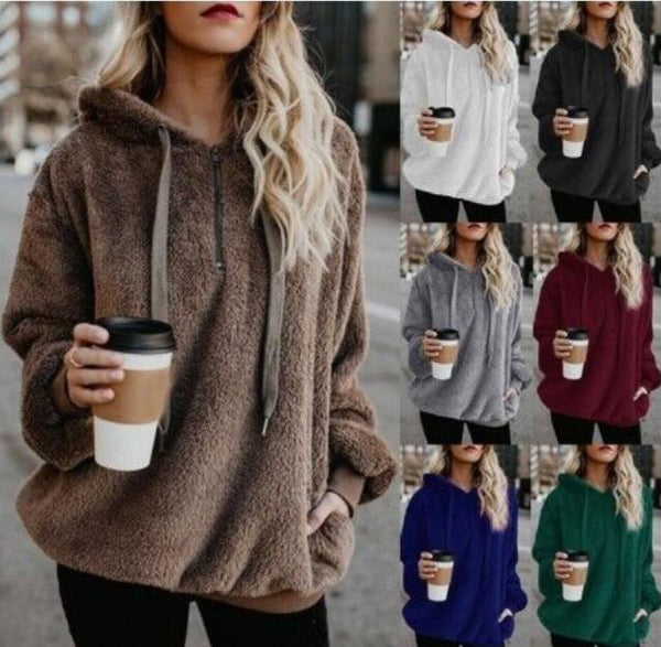 Women's Clothing - 2018 New Women's Fluffy Zipper Hoodie Sweatshirt(Buy 2 Got 5% off, 3 Got 10% off Now)