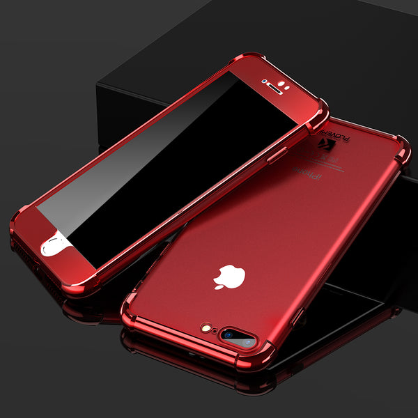Phone Case - Transparent Silicone Back Clear Soft Case + Hard PC Front Phone Case For iPhone 6 7 8 X