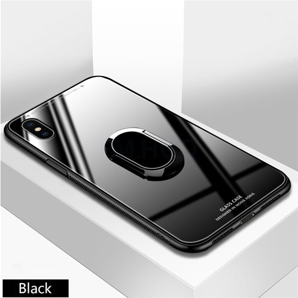 Phone Case - Ultra Thin Tempered Glass for iPhone XR XS MAX with Magnetic Ring Holder