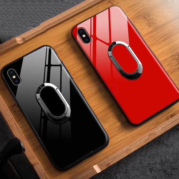 Phone Case - Luxury Tempered Glass Protection Magnetic Ring Holder Bracket Phone Case
