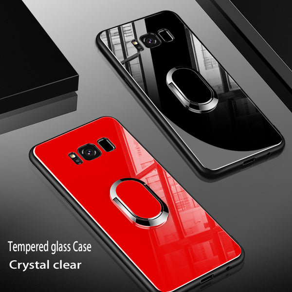 Tempered Glass Protective Magnetic Ring Holder Phone Case For Galaxy s8 s9 Plus Note 8