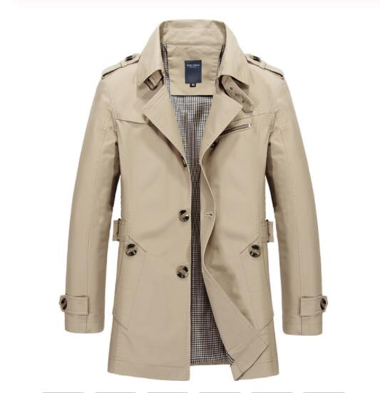 Men Casual Coat Long Trench Coat Cotton Washed Jacket (Buy 2 Get 10% OFF, 3 Get 15% OFF)