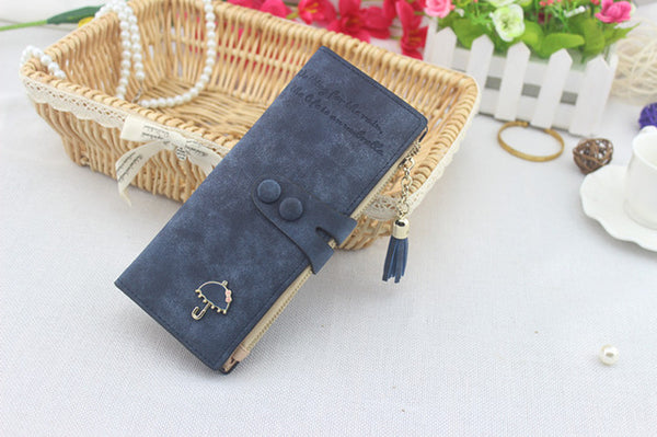 Wallet - Women Synthetic Leather Card Holder Long Trifold Wallet Clutch