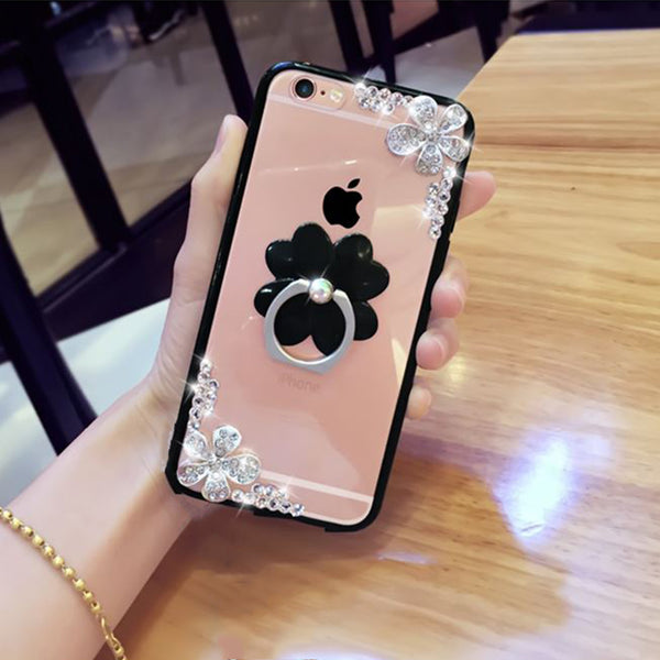 Phone Accessories - Fashion Bling Rhinestone Flower Phone Case for iPhone