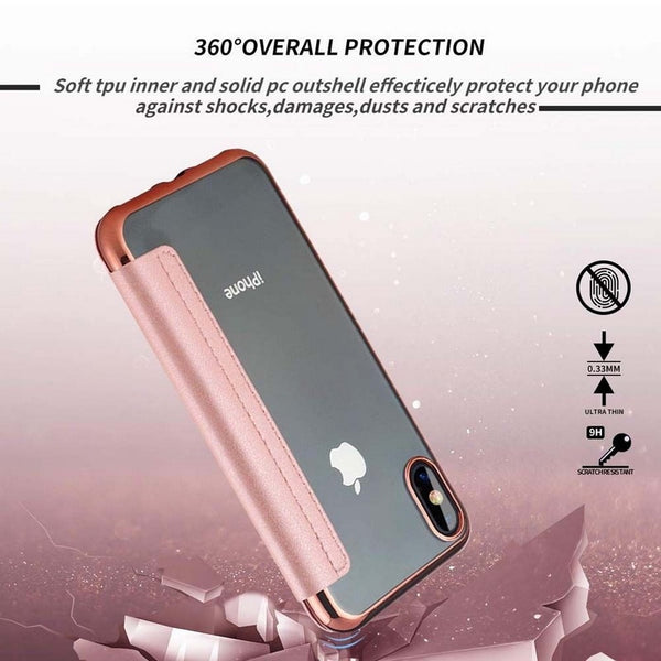 Phone Case - Fashion Electroplate Slim Book Flip Wallet Case for iPhone X XR XS Max
