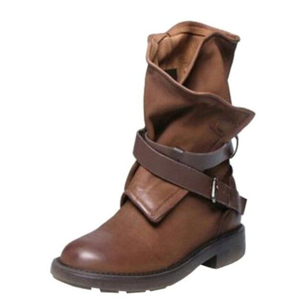 Shoes - Fashion Women's Buckle Leather Boots