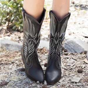Fashion Mid Calf Women Western Cowboy Pointed Toe Boots