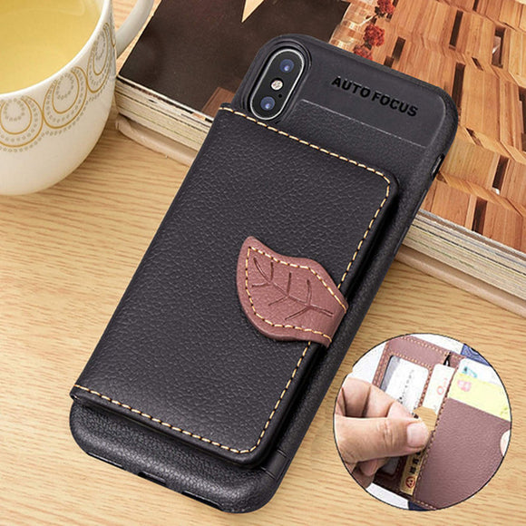 Phone Case - Luxury Retro PU Leather Wallet Card Slot Holder Phone Case For iPhone X/XS/XR/XS Max 8/7 Plus