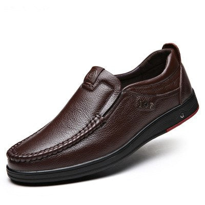 ef6c547847f6 Men Solid Slip On Genuine Leather Shoes