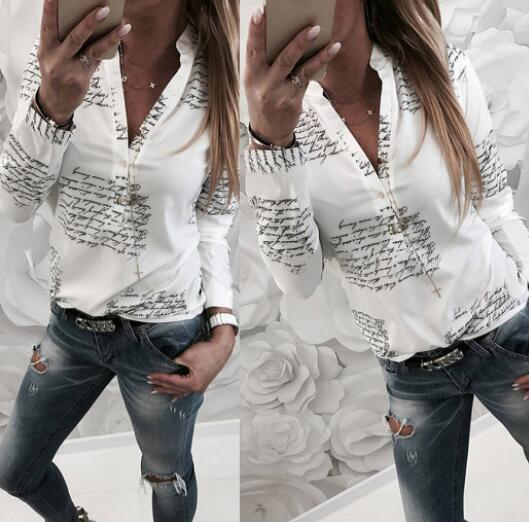 Women's Clothing - Fashion Women's V Neck Print Loose Blouses