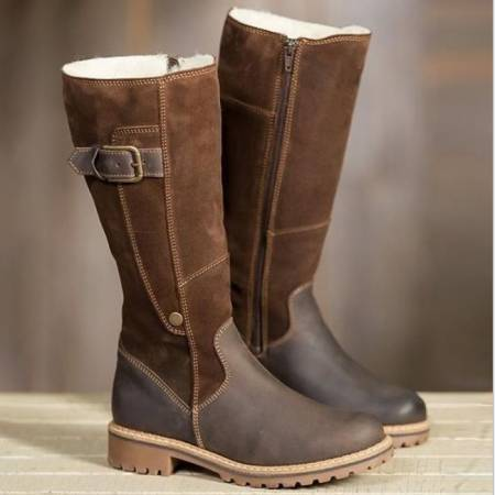 Women's Shoes - Warm Ladies Leather Martin Winter Flat Snow Boots