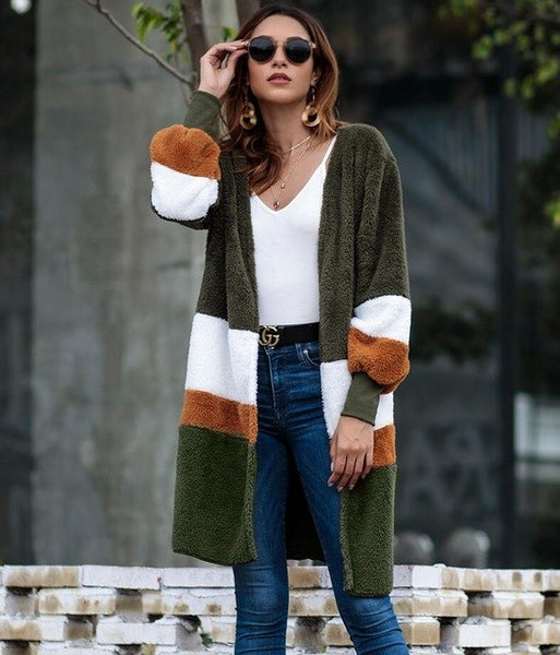 Women's Clothing - Fashion Loose Patchwork Cardigan