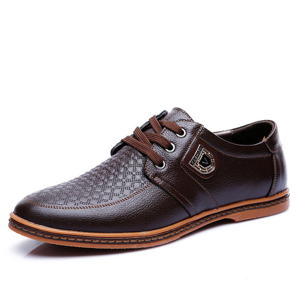 Fiber Leather Men's Lace Up Footwear Business Outdoor Shoes