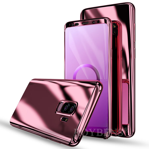 Luxury Ultra Thin Bling Mirror 360 Full Protection Cover For Galaxy S9 Plus Case + Soft Film