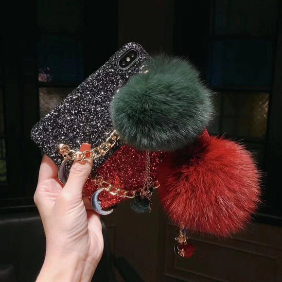 Luxury Bling Diamond Gem Bracelet Chain Tassel Fox Fur Ball Cover For iPhone XS XR XS MAX 6 6S 7 8 Plus X 💖