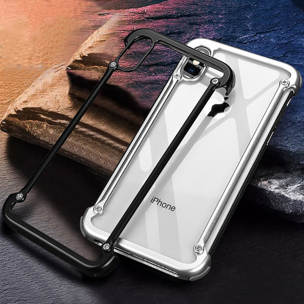buy online a6995 096ec Airbag Metal Bumper Case With Free Glass For iphone 7 8 Plus X XS MAX XR