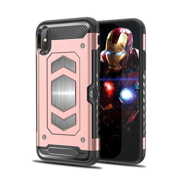 Armor Hybrid Car Magnetic Suction Bracket Case for iphone X XS XR XS MAX( No Magnetic Car Mount )