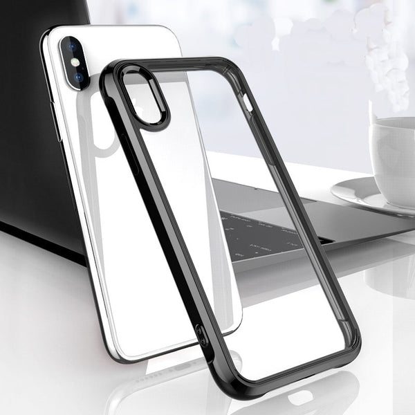 brand new d257f 09db4 Phone Case - Anti-knock Case Dual Silicone Bumper + Clear Acrylic Back  Cover for iPhone XS Max XR XS X