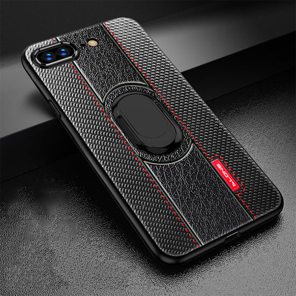 Phone Case - Luxury Litchi Leather Magnetic Suction Bracket Finger Ring Phone Case For iPhone XS/XR/XS Max 8/7 Plus