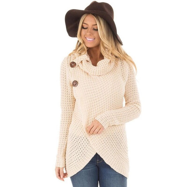 2018 Comfortable Autumn Winter Knitted Long Sleeve Casual Pullover Irregular Sweater