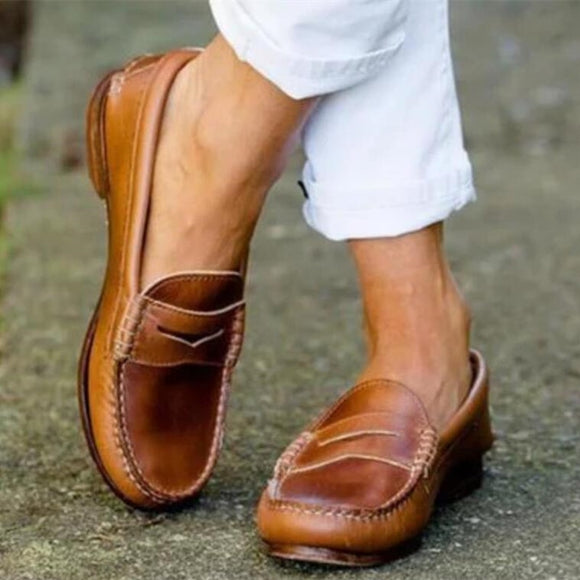 Women's Shoes - Classy Leather Loafers