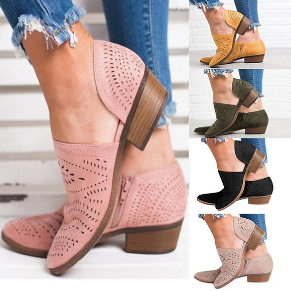 2020 Women Hollow out Zipper Shoes