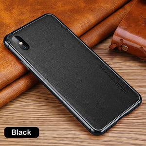 Phone Accessories - Genuine Leather Metal Frame Shockproof Back Case For iPhone 6-8 Series