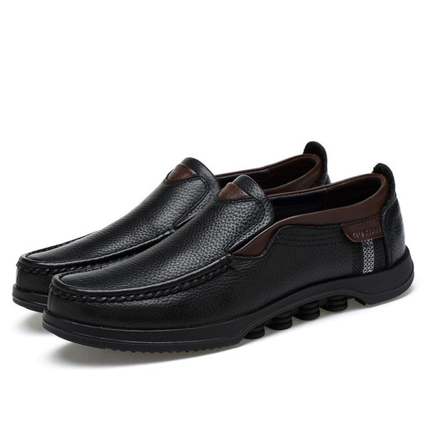 2019 Plus Size Top Men Genuine Leather Flat Comfy Shoes