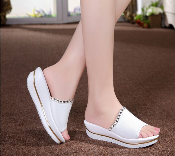 Women Fashion Diamond Slides Wedge Sandals