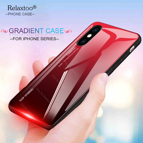 Fashion Gradient Glass Phone Case for iPhone X XR XS Max