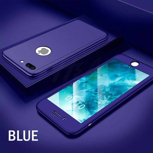Phone Case - Luxury 360 Degree Full Cover Protective Case With Tempered Glass Cover