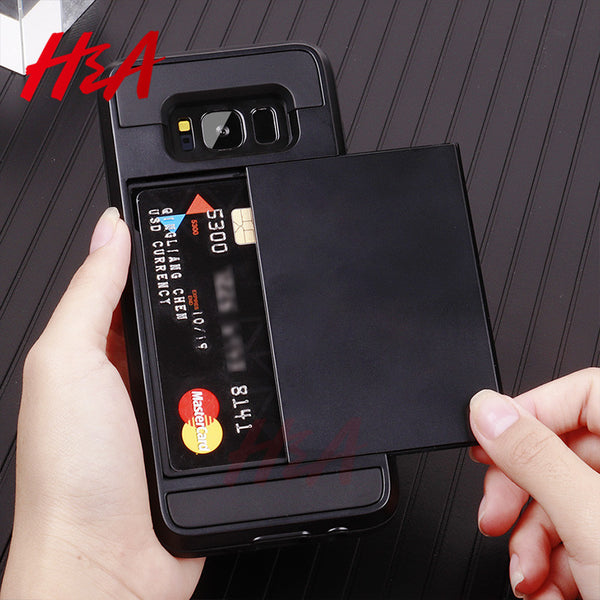 Slide Card Holder Case For Samsung Galaxy Note 8 9 S7 S6 Edge S9 S8 Plus