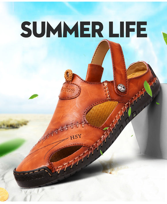 Kaaum Fashion Men Half Drag Leather Beach Dual-use Sandals
