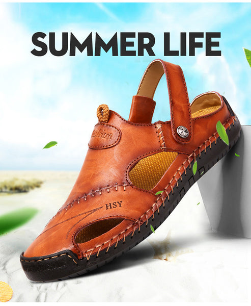 Fashion Men's Half Drag Leather Beach Dual-use Sandals