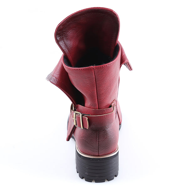 Shoes - Women's New Flat Buckle Combat Riding Ankle Boots