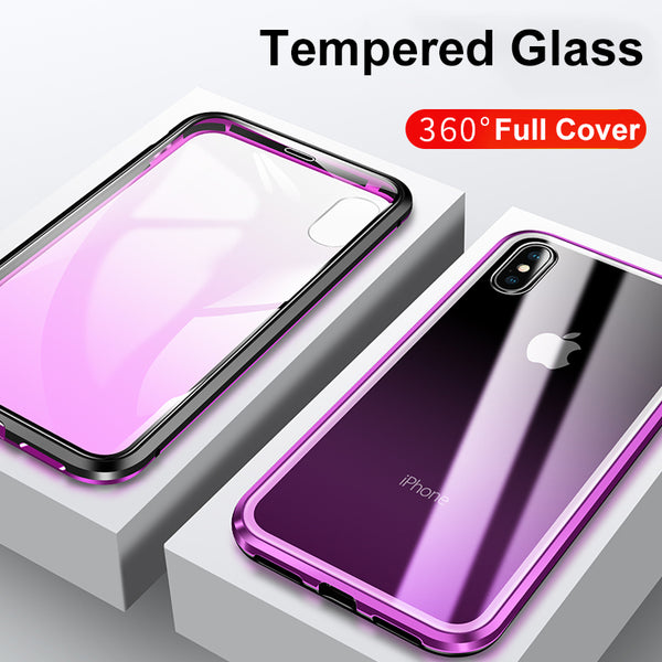 Phone Accessories - 360 Degree Protection Magnet Magnetic Adsorption Metal Bumper Double-Sided Tempered Glass Case For iPhone