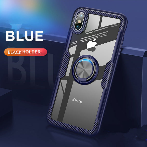 Phone Case - Super Anti-knock Airbag Tempered Glass Case With Magnetic Car Holder For iPhone X/XR/XS/XS Max 8 7 6S 6/Plus