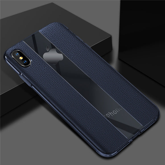 Phone Case - Luxury Original Design Calfskin PU Leather & Clear Arcylic Protective Phone Case For iPhone XS/XR/XS Max 8/7 Plus